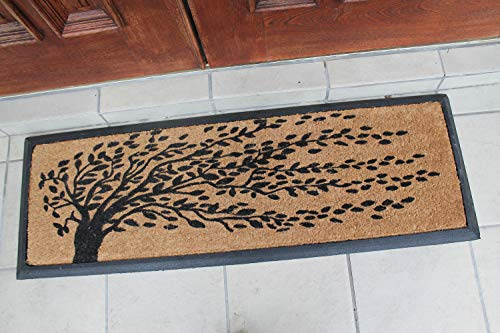 16 L x 48 W 16X48 Black A1 Home Collections A1HOME200078 Rubber and Coir Molded Falling Leaves Double Doormat
