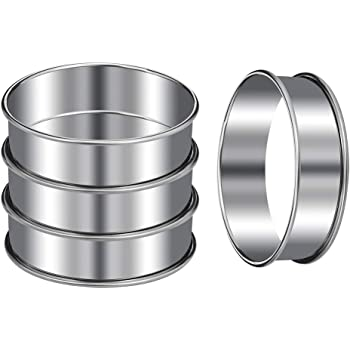 KINAKE 4Pcs Muffin Rings Mousse Ring Cake Mold Stainless Steel Professional Crumpet Rings Pastry Mini Baking Ring Mold For Kitchen Bakery