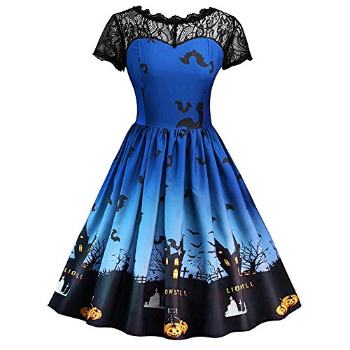 Fledermaus Drucken Kleid Damen Vintage Cocktailkleid Rockabilly Halloween Kostüm,Mode Halloween Spitzekleid Kurzarm Kleid,Abendkleid Party Kleider URIBAKY