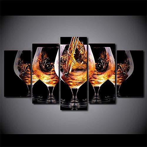 SJYHNB Arte de Pared Copa de vino marrón Impresión Lienzo Pintura Cartel Impresión de Lienzo Wall Sticker Paintings HD Escena Pared Arte Pintura 5 Piezas 100 x 55cm