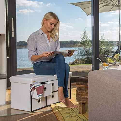 Relaxdays faltbare Sitztruhe mit 6 entnehmbaren Fächern, faltbar, Kunstleder, 76x38x38cm - 6