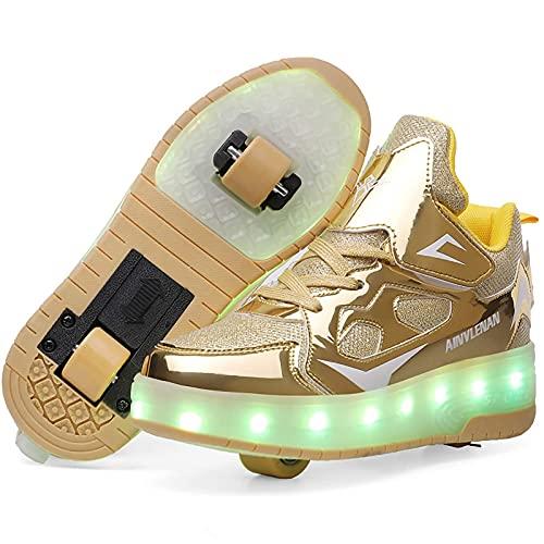 Rollschuhe Mit mehrere Farben Leucht Räder Sneakers Skates Wiederaufladbare LED Rollschuhe Bequem Roller Skates Rollerblades für Mädchen Jungen Golden,36