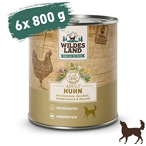 Wildes Land | Nassfutter für Hunde | Nr. 2 Huhn | 6 x 800 g | mit Karotten, Zucchini, Wildkräutern & Distelöl | Glutenfrei | Extra viel Fleisch | Beste Akzeptanz und Verträglichkeit