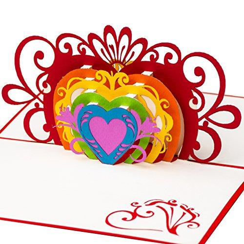 PrimePopUp | Liebeskarte | Bunte Herzen | romantische 3D Pop Up Karte | besondere Hochzeitskarte | Geschenk für Freundin Freund | Geburtstagskarte | Ich liebe Dich Karte für Sie & Ihn