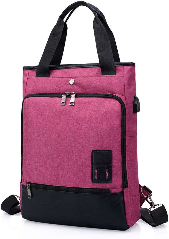 Jian E USB Charging MultiFunction Backpack Laptop Large Capacity Outdoor Travel Leisure Backpack Waterproof WearResistant Breathable Work Backpack Men and Women Models   (color   Pink)