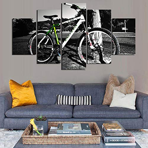 Popular Home Decoration Art Paintings On Canvas Printed Wall 5 Pieces Mountain Bike Pictures for Living Room40x60cmx2 40x80cmx2 40x100cm-No Frame