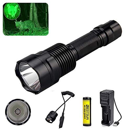 Grüne Taschenlampe für Jagd, BESTSUN Jagd LED Taschenlampe mit grünes Licht Coyote Hog 350 Lumen Langstrecken Jagdlampe mit Druckschalter, Akku und Ladegerät