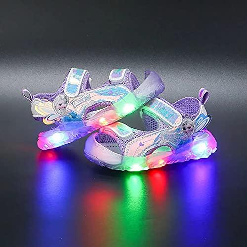 Sandali da bambina con luci a LED, leggeri, leggeri, con luci a LED, colore viola