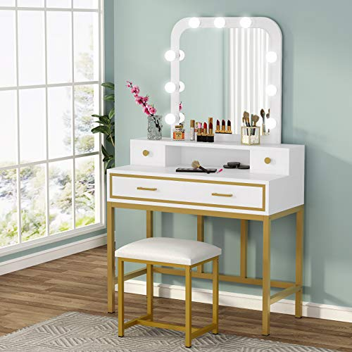 Tribesigns Vanity Table Set with Lighted Mirror and Cushion Stool, Elegant Makeup Table Vanity Dressing Table with 4 Drawers and Storage Shelves for Woman, Dresser Desk for Bedroom(Gold/White)