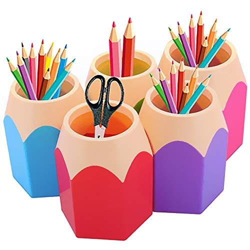 Pot à Crayons Lot de 5 Assortd Couleur Stylo Vase Pot à Crayons Maquillage Brosse Support Organiseur de Bureau Papeterie Organiseurs