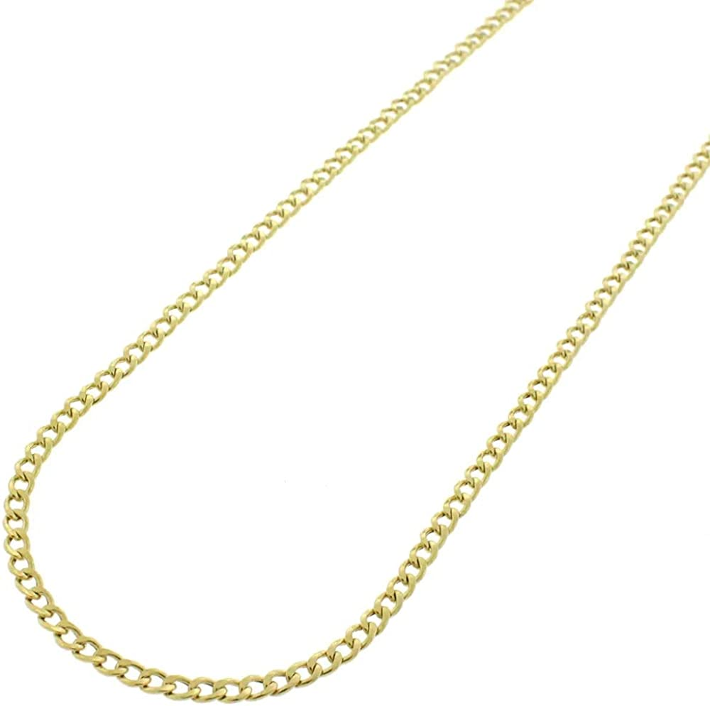 Becca Code 14K Yellow Gold Necklace 2.0MM Cuban Italian Curb Link Chain Necklace- 14k Necklaces, 14k Gold Cuban Chain, Gold Chain Made in Italy