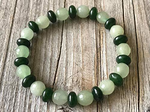 LOVEKUSH GRounding - Pulsera elástica de aventurina verde y esmeralda verde de 8 mm, redonda y redonda, lisa y facetada de 7 pulgadas para hombres, mujeres, GF, BF, adultos.