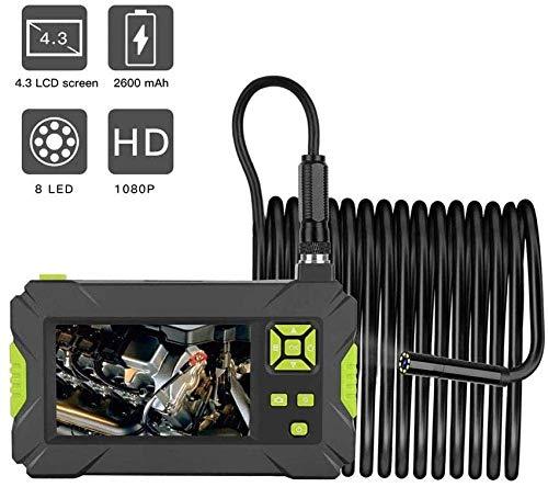 1080P HD Industriële Endoscoop Inspectie Camera 4 3 Inch Kleur LCD Scherm Semi-Rigide Handheld Video Borescope met 8 LED Lights IP67 Waterdichte Snake Camera met 2600mah Lithium Batterij 2M(Upgrade