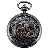 ManChDa Antique Mechanical Pocket Watch Lucky Dragon & Phoenix Black Skeleton Dial Roman Numberals...