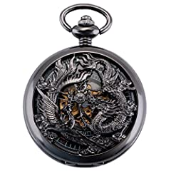 ★ EXQUISITE DESIGN - Pocket watch with unique Phoenix & Dragon hollow pattern case design, symbolizes the BEST of LUCK. Black case, Roman numerals, Special skeleton dial with golden movement, vintage and fashion pocket watch with elegant look. ★ GOOD...