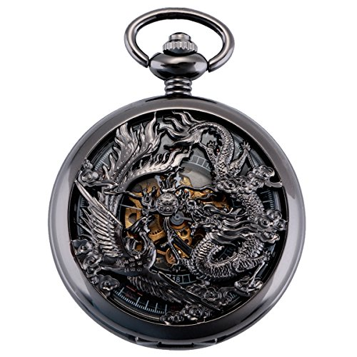 ManChDa Pocket Watch Lucky Dragon & Phoenix Vintage Mechanical Steampunk Skeleton Roman Numerals Black Fob Watch with Chain for Men Women