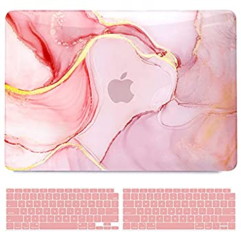 B BELK Compatible with MacBook Air 13 inch Case 2020 2019 2018 Release MacBook Air Case 2020 with Touch ID  A2337 M1 A2179 A1932  Laptop Plastic Hard Shell Case + 2 Keyboard Covers Pink Gold Marble