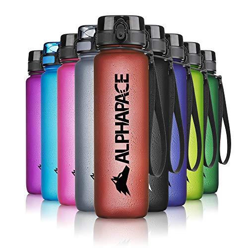 ALPHAPACE Trinkflasche, auslaufsichere 1.000 ml Wasserflasche, BPA-freie Flasche für Sport, Fahrrad & Outdooraktivitäten, Sportflasche mit Fruchteinsatz, in Dunkelrot