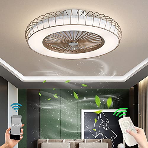 Ventilador de techo LED con Luz Lámpara de Ventilador silencioso regulable con control remoto luz de Ventilador de dormitorio invisible moderno 3 velocidades para dormitorio comedor Iluminación