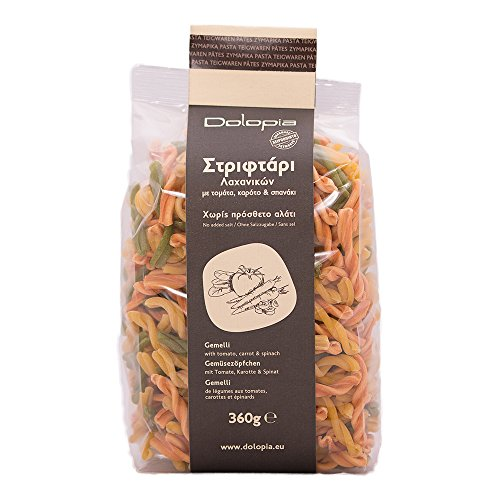 Dolopia - Gemüsezöpfchen mit Tomate und Spinat 360g   Vegetarische Nudeln, Orzo, Orzo Pasta, besondere Nudeln, Gourmet Nudeln, Feinkost Nudeln, Gourmet Pasta, Feinkost Pasta, Teigwaren, Delikatess Pasta