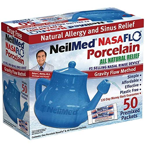 in budget affordable NeilMed Nasaflo Porcelain Nety Pot, 50 pcs (Package may vary)