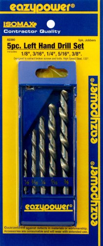 EAZYPOWER 82380 5Piece 1/8'-3/8' Left Handed M2 High Speed Steel Drill Bit Set