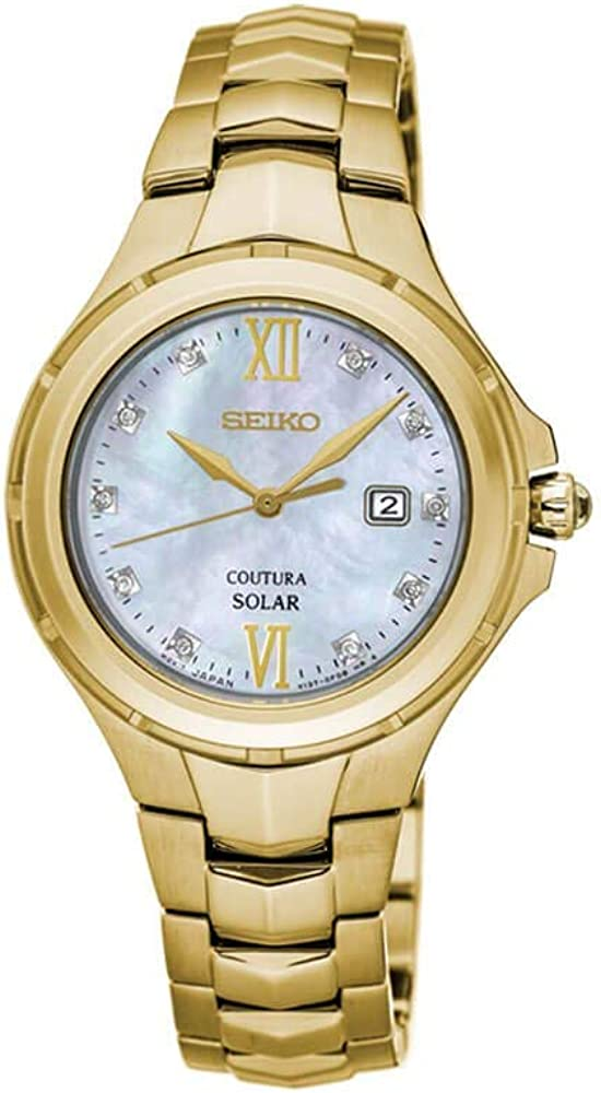 Seiko Womens Japanese Quartz Stainless Steel Watch, Color:Gold-Toned (Model: SUT310)