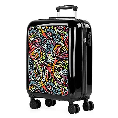 SKPAT - Trolley valigia cabina rigida con 4 ruote doppie 55x40x20cm Bagaglio a mano. Stampa giovanile. policarbonato. 132650 Nero-Flow