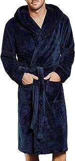 75c14667de iLXHD Winter Luxury Men s Shawl Collar Fleece Kimono Sleepwear Bathrobe  with Hood
