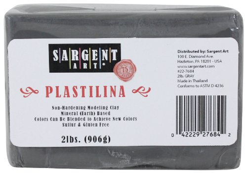 Sargent Art Plastilina Modeling Clay, 2-Pound, Gray