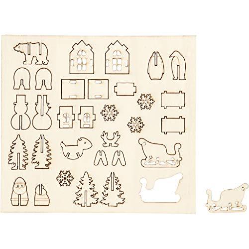 Zusammensteckbare Holzfiguren, Weihnachten, L 15,5 cm, B 17 cm, Sperrholz, 1Pck, Stärke: 3 mm