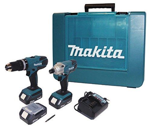 Makita, DK18015 - Set de taladro atornillador de percusión + atornillador de...
