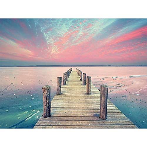 5D DIY diamante pintura sol playa río mar paisaje pintura Kit de punto de cruz mosaico arte decoración del hogar regalo A5 30x40cm
