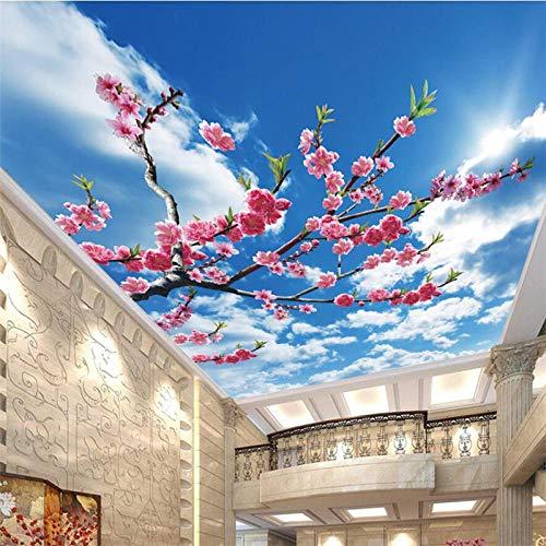 ZJfong behang op maat mooie lente vers blauw hemel wit wolken woonkamer slaapkamer plafond Zenith grote muurschildering 300x200cm