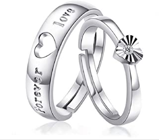 Zhiwen 925 Sterling Silver Couple Promise Rings Puzzle Heart Wedding Band Sets Vintage Promise Rings for Couples 2 Rings