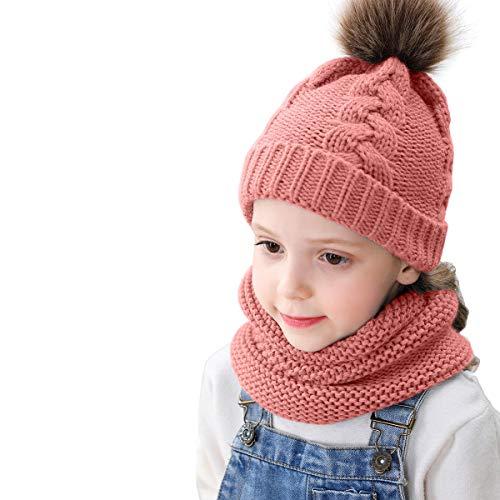 Haokaini Kid Winter Pom Pom Ball Hoed Sjaal Kit Gebreide Beanie Hoed Nek Warmer voor Peuter 0-3 Years roze
