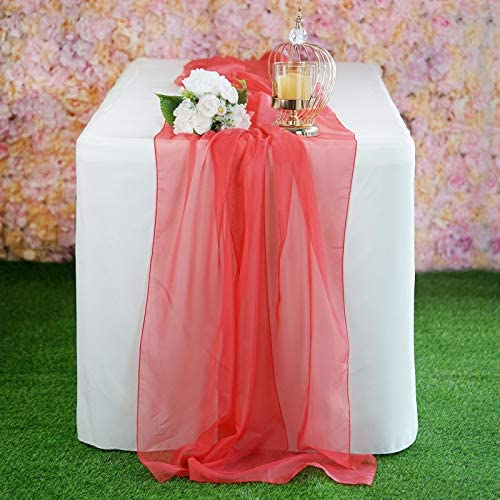 Efavormart 6FT Coral Premium Chiffon Table Runner for Party Dining Banquet Events Restaurant product image