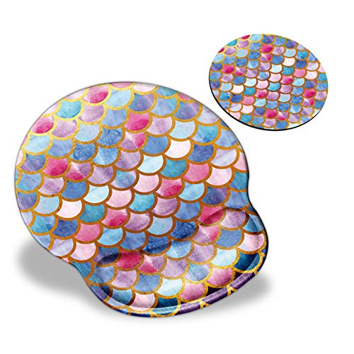 Mouse Pad with Wrist Support, Colorful Watercolor Fish Scale Skin Cute Pattern Design Ergonomic Mouse Pads and Coasters, Gaming Mousepad for Laptop Computer Home Office Working & Pain Relief