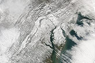 Posterazzi Poster Print Collection Satellite View of a Massive Nor'Easter Snow Storm Over Chesapeake Bay Stocktrek Images, (17 x 11), Multicolored