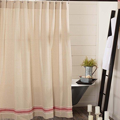 """Farmhouse Red Grain Sack Stripe Shower Curtain, 72"""" x 72"""", Country Farmhouse Bathroom Décor"""
