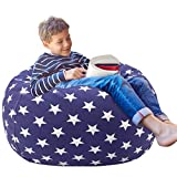 Aubliss Stuffed Animal Storage Bean Bag Chair Cover (No Beans),Stuff and Sit Storage Bean Bag for Kids Toy Storage, Medium 32'-Canvas Stars Royal Blue