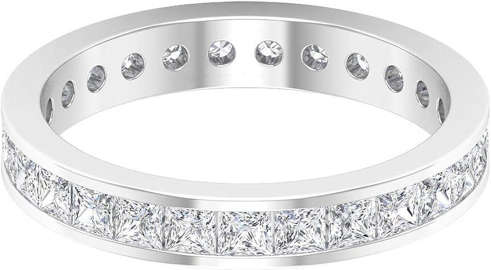Unique Wedding Band Max 42% OFF Denver Mall Princess Cut Eternity 1.8 HI-SI Di CT Ring