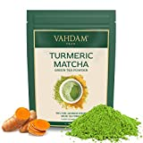 TURMERIC + MATCHA Green Tea Powder, (25 Cups) 1.76oz - Powerful SUPERFOODS Blend Rich with Curcumin - Pure Japanese Matcha Powder with Indian Turmeric Powder 137x Anti-OXIDANTS,Delicious Matcha Latte