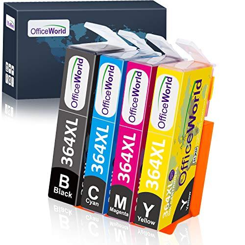 OfficeWorld Sostituzione per HP 364 364XL Cartucce d'inchiostro Compatibile per HP Photosmart 5520 5510 6520 7510 7520 D5460 B109A B110A, HP Deskjet 3070A (1 Nero, 1 Ciano, 1 Magenta, 1 Giallo)