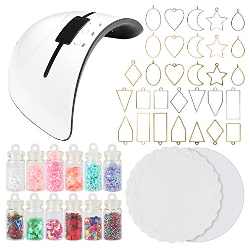 UV Resin Jewelry Making Supplies Set 36W UV Lamp Dryer, Bezel Charms, Glitter Jars, Silicone Mats 45-kit