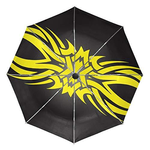 FAJRO Regenschirm, Tattoo-Design, Winddicht, automatisch, Regenschirme für Regen, Outdoor/Damen/Herren