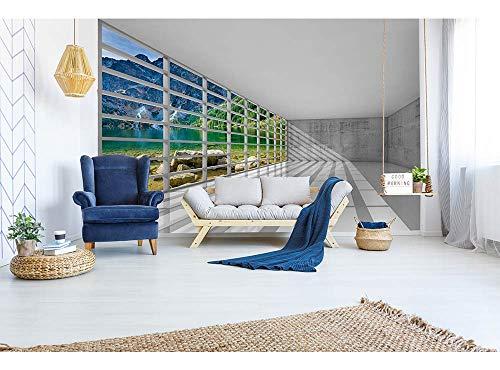 Vlies Fotobehang BINNENLAND MET UITZICHT | Niet-Geweven Foto Mural | Wall Mural - Behang - Reusachtige Wandposter | Premium Kwaliteit - Gemaakt in de EU | 375 cm x 250 cm