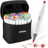 Ohuhu 72 Colors Alcohol Markers, Brush & Chisel Double Tipped Sketch Marker for Kids, Artist, Alcohol Brush Art Marker Set Bonus 1 Blender for Sketching, Adult Coloring, Great Valentine's Day Gift
