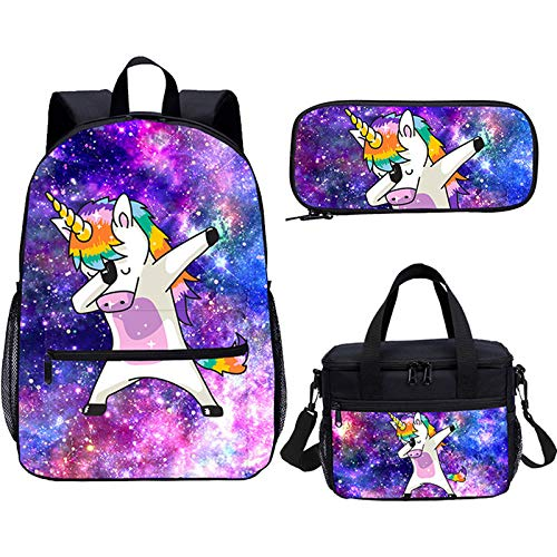 Unicorn Galaxy Backpack with Lunch Box Travel Hiking Camping Daypack 3 Sets for Women Girls