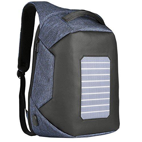 Männer Solaraufladung Rucksack Europa \u0026 Amerika Anti-Diebstahl- \u0026 Anti-Cut-Business-Reisetaschen Computer-Taschen,Blue-OneSize